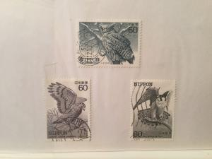 Japan Used 13 stamps Bird in danger of extinction series 1983-1984