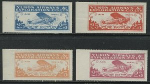 Canada Yukon Airways 25 cents Airmails 4 different colored PROOFS mint NH