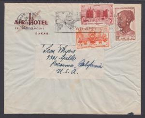 French West Africa Sc 45/51/53 on 1955 Cover to US