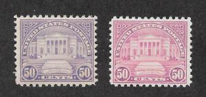 701 Unused  50c. Arlington Amphitheatre, Lilac & Red Lilac