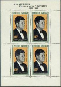 HERRICKSTAMP GABON Sc.# C27A NH John F. Kennedy Airmail Stamp