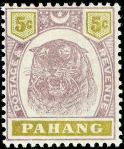 MALAYSIA - Pahang SG16, 5c dull purple & olive-yellow, LH MINT. Cat £40.
