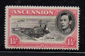 Ascension Sc 42a 1949 1 1/2d G VI & Pier perf 14 stamp mint