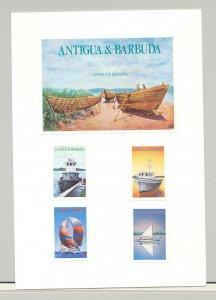 Antigua #929-933 Boats, Fishing Boat, Sailboat 4v & 1v S/S Imperf Proofs on Card