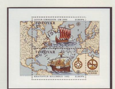 Faroe Islands Sc 2381992 Europa Columbus stamp sheet used