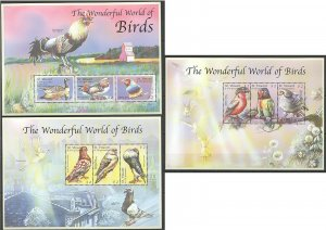 PK155 ST.VINCENT FAUNA THE WONDERFUL WORLD OF BIRDS 3KB MNH STAMPS