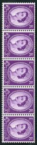 S68e 3d Deep Lilac Coli Strip on Cream Paper Wmk Edward S/Ways U/M