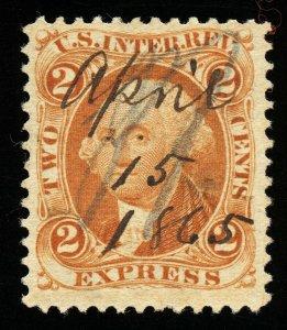 B335 U.S. Revenue Scott R10c 2c Express Orange 1865 manuscript cancel