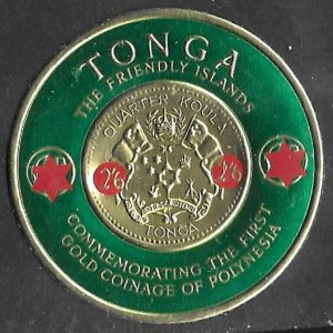 Tonga # 142 Gold Coin on stamp -  revalued  (1) NH ***U.S.A. ORDERS ONLY*