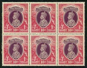 India KGVI SG262 10R Purple and Claret U/M Block of SIX