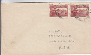 1938, Australia Used in Fiji to Santa Clara, CA (29100)