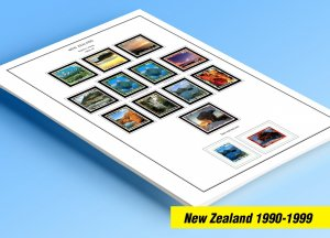 COLOR PRINTED NEW ZEALAND 1990-1999 STAMP ALBUM PAGES (148 illustrated pages)