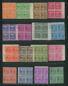 1937 United States Presidential Issue Postage Stamps #803-831 Mint Block Set