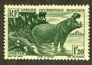 FRENCH WEST AFRICA 43 MDG SCV $2.00 BIN .75 HIPPO, ALLIGATOR
