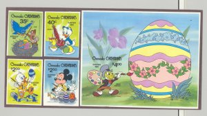 Grenada Grenadines #430-434 Disney Easter 4v & 1v S/S Imperf Proofs