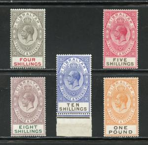 GIBRALTAR  GEO V  SCOTT#88/92, GIBBONS#100 101 105/07  MINT LH 10/  IS NH