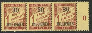 FRANCE OFFICES IN EGYPT ALEXANDRIA 1922 30m on 1fr Postage Due YEAR Strip Sc J5