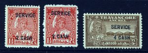 TRAVANCORE INDIA 1943-5 OFFICIAL Surcharged Set BOTH PERFS SG O106 to O107a MINT