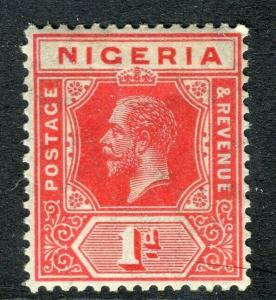 NIGERIA; 1912 early GV Crown CA issue fine Mint hinged Shade of 1d. value