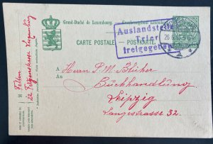1916 Luxembourg postal Stationery postcard Cover to Leipzig Germany