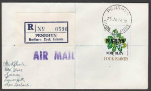 PENRHYN IS 1974 Registered cover to New Zealand - single 50c franking.......M941