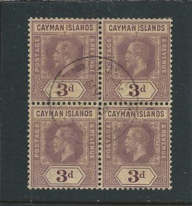 CAYMAN IS 1912-20 3d PURPLE ON PALE YELLOW BLOCK OF FOUR FU SG 45e CAT £120
