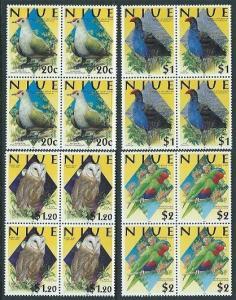 NIUE 2000 BIRDS set blocks of 4 MNH.......................................62428A