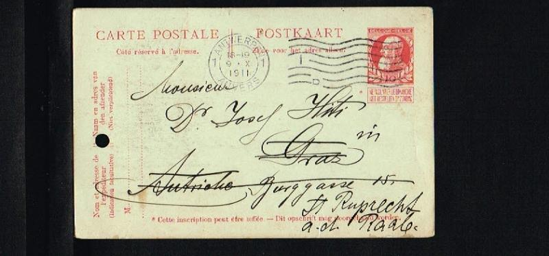 1911 - Belgium Postcard - From Antwerp to Graz [B09_113]