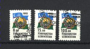 Uzbekistan #30, 31, 34  used 1993  PD