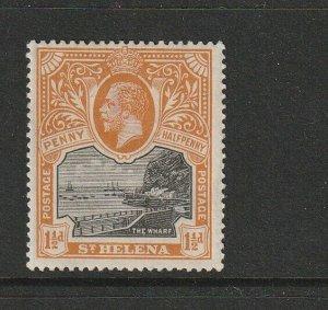 St Helena 1912/6 1 1/2d Black/Orange MM SG 74