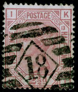 SG141, 2½d rosy mauve PLATE 13, USED. Cat £80. KI