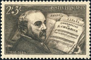 FRANCE - 1942 - Yv.542/Mi.553 2fr+3fr brun-gris Emmanuel Chabrier - Neuf**