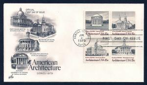 UNITED STATES FDC 15¢ Architecture Block 1979 ArtCraft
