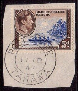 GILBERT & ELLICE IS GVI on 1947 piece POST OFFICE / TARAWA cds.............33756