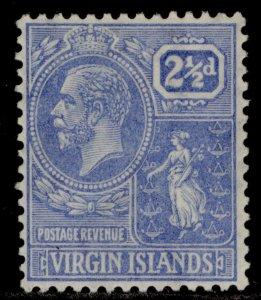 BRITISH VIRGIN ISLANDS GV SG93, 2½d pale bright blue, M MINT.