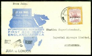 EDW1949SELL : SUDAN Nice 1931 First Flight cover to Egypt sent from London.