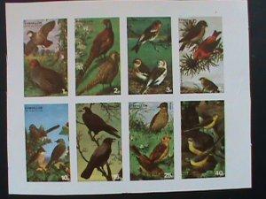 EYNHALLOW SCOTLAND STAMP -RARE BIRDS -IMPERF- MNH - MINI SHEET  NO GUM AS ISSUED