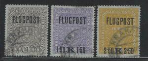 VEGAS - 1918 Austria Airmail - Sc# C1-C3 - Used - Nice! - DK18