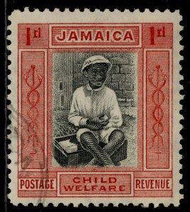 JAMAICA GV SG107b, 1d + ½d black & scarlet, FINE USED. Cat £13.