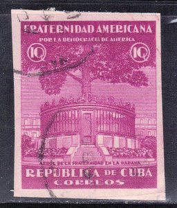 CUBA  SC#  371  USED  TREE OF FRATERNITY   1942 IMPERF  SEE SCAN