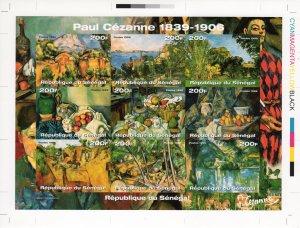 Senegal 1999 Sc#1414 Paintings by Paul Cezanne Sheetlet 9 FINAL PROOF UNIQUE !!