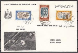 Yemen, People`s Rep., Scott cat. 19-21. Girl Scouts on a First day cover. ^