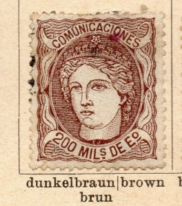 Spain 1870 Early Issue Fine Used 200m. NW-16568