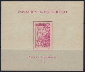 Niger #83*  CV $10.00  French Int'l Exhibition Souvenir sheet