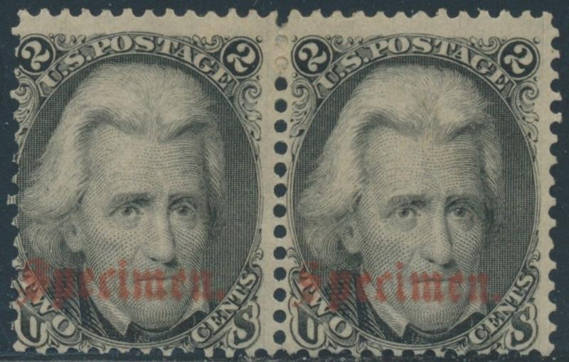 #73S B PAIR F-VF OG HR SPECIMEN OVERPRINT WITH PF CERT CV $700 HV8074