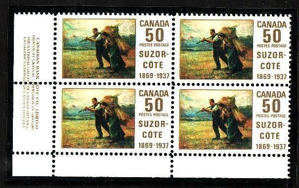 Canada-Sc#492- id5-plate block-LL-50cSuzor Cote-NH-1969-
