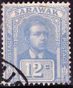 SARAWAK 1928 12Cents Bright BlueSG84Fine Used