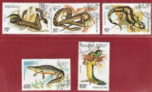 LAOS STAMPS SC# 1178-82  *CTO* 1994  REPTILES  SEE SCAN