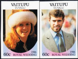Tuvalu - Vaitupu #65-66 MNH Imperf 1986 Royal Wedding