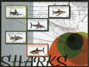 GRENADA GRENADINES SHARKS SHEET MINT NH